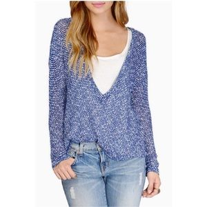 Sweaters - Blue/White Deep V-Neck Sweater